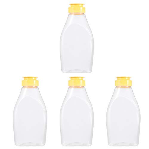 Hemoton 4 Piezas de Frascos de Miel de Plástico Botella de Compresión de Miel Frascos de Condimento de Plástico con Tapa Pequeño Contenedor de Miel para Tienda Café Cocina Hogar