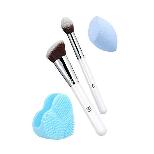 T4B ILU Out Of The Blue 4 Pcs Set Pinceaux Maquillage Avec 1 Eponge 1 Nettoyeur Pour Pinceaux
