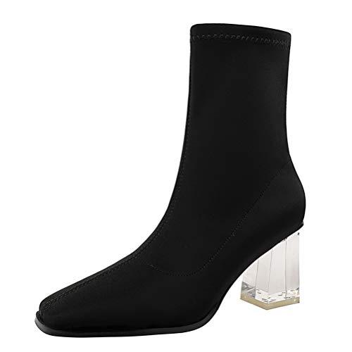 Botas de media pantorrilla para mujer Botines Primavera Otoño Sexy Tacones altos con estilo Resbalón en punta cuadrada Calcetines de tacón en bloque Botas
