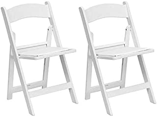 White Resin Stackable Folding Chairs - Heavy Duty 300-Pound Capacity - for Banquets, Weddings, and Events (2-Pack)