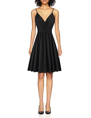 STYLEWORD Women's V Neck Spaghetti Strap Summer Casual Swing Dress with Pocket (Black-429,L)