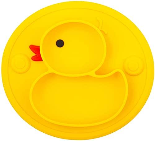 Platos para niños, mantel individual dividido silicona antideslizante para bebés, placa alimentación para niños con fuerte sin BPA, aprobado por la FDA, apto para lavavajillas y microondas