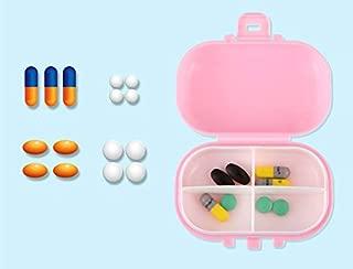 Travel Pill Organizer Medicine Dispenser - Vitamin Fish Oil Natural Grain Fiber Organizer Box Portable Small Pill Waterproof Moisture-Proof Case with 4 Removable Compartments for Medication and Supple