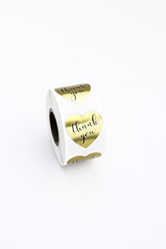 """Canopy Street Gold Heart Shape Thank You Foil Sticker Labels - 500 Stickers, 1 1/8, 1.125"""""""