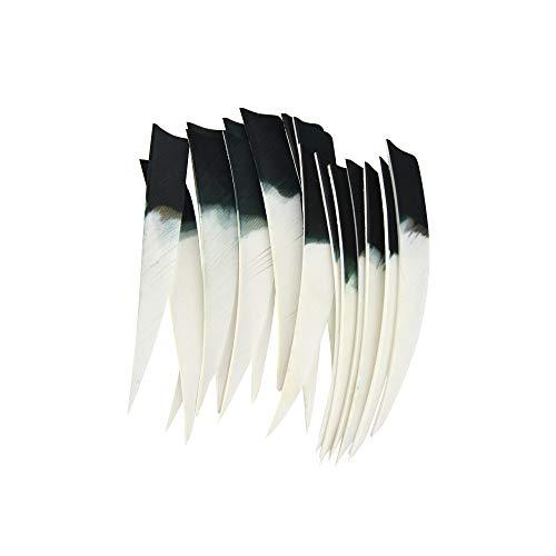 AMEYXGS 30pcs Tiro con Arco Plumas de Flecha 5' Fletches de Pavo Fletching Plumas Naturales Alas Derechas (Escudo)