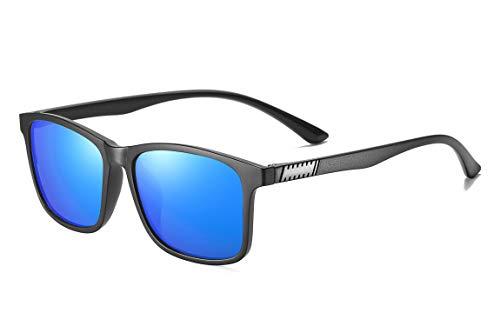 SKILEC Gafas de Sol Polarizadas Hombre Mujer - Gafas para Ciclismo, Running, Deporte Conducir MTB Golf Bicicleta etc. Gafas de Sol Mujer Gafas de Sol Hombre Protección 100% UV400 (Negro/Azul Oscuro)