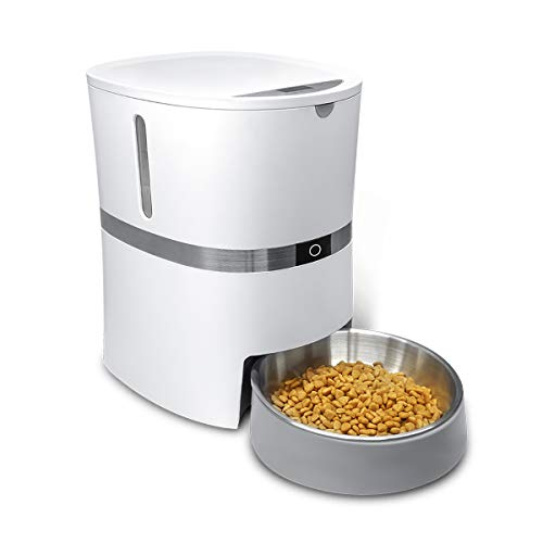 HoneyGuaridan A36 Distributore Automatico di Cibo, per Cani, Gatti e Animali con Ciotola in Acciaio Inossidabile, Programmabile e con Registratore Vocale - Alimentabile con Batterie o Adattatore