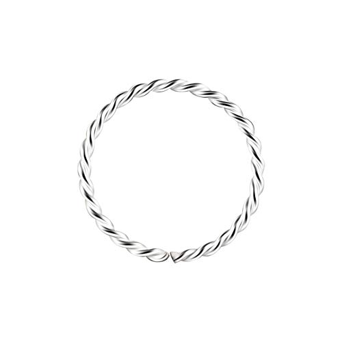 AZARIO LONDON 20 Gauge Seamless Continuous Twister 925 Sterling Silver Hoop Nose Piercing Ring