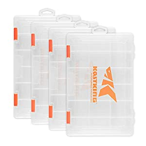 KastKing Tackle Boxes, Plastic Storage Organizer Box with Removable Dividers, 3600 Tackle Trays, Parts Box, 10.8x7.25x1.65 Inches (Pack of 4)
