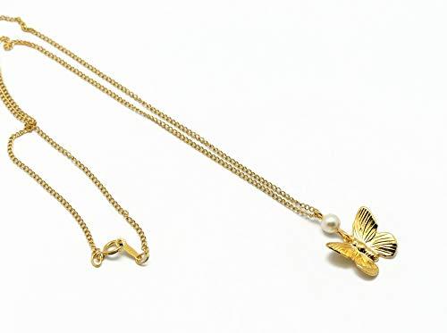 FARFALLA collana oro resina perla swarovski avorio regali personalizzati natale compleanno cerimonia matrimonio ospiti festa della mamma coppie