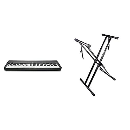 Yamaha P-45Piano digital ligero y portátil para aficionados y principiantes, color negro + RockJam Xfinity Doublebraced Premontado Soporte de teclado altamente ajustable con correas de fijación