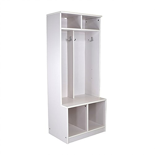 Little Partners Kids Wooden Locker – Two Cubby 6 Compartment Open Storage Coat Locker for Toddlers and Kids – Durable ConstructionSoft White