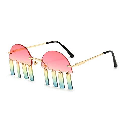 ZZOW Gafas De Sol Sin Montura Semirredondas De Moda para Mujer, Gafas De Sol con Colgante De Rectángulo Pequeño Vintage para Mujer, Lentes De Gradiente Oceánico para Hombre