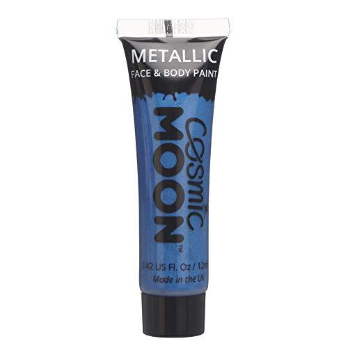 Cosmic Moon - Peinture de maquillage métallique pour le visage et le corps - 12ml - Créez des motifs de maquillage métallique fascinants pour visage! - Inclut: Bleu