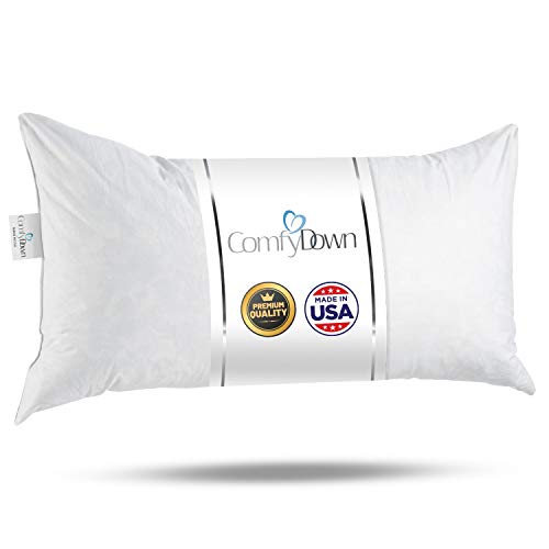 12x24 Decorative Throw Pillow Insert, Down and Feathers Fill, 100% Cotton Cover 233 Thread Count, Rectangle Pillow Insert - Made in USA