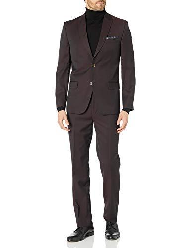 Slim Fit Men Suit Micro Textured Weave 2 Button Notch Collar AZAR 11812 (36 Short 30 Waist 30 Length, Black)