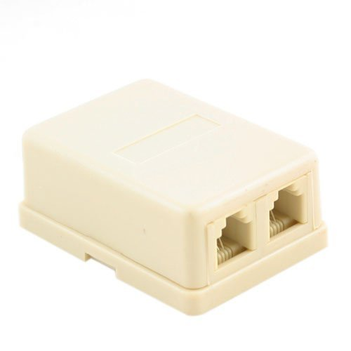 Wideskall Wall Surface Mount Dual Telephone Jack 4 Conductor Modular (Ivory)