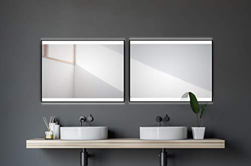 Talos Black Shine Badspiegel mit Beleuchtung, Matt Schwarz, 80 x 60 cm