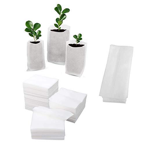 Bolsas vivero no Tejidas,CHENKEE 400 pzs Bolsas de cultivo de Plantas Sólidas no tejidas Biodegradables Bolsas de Cultivo de Plántulas Ecológicas para Suministro de Jardín Plántulas