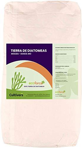 CULTIVERS Tierra de Diatomeas 25 kg Molienda. 100% Natural y Ecológico. Grado alimenticio E55IC. No Calcinada de alta pureza, sin tratamientos ni residuos.