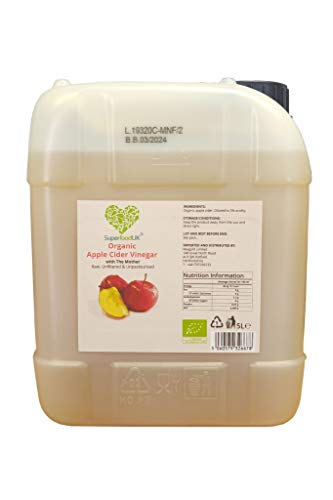Raw Organic Apple Cider Vinegar with Mother 5000ml - Jerry Can, Natural, Value for Money, Unfiltered, Unpasteurized, ACV, Vegan, Vegetarian Friendly - SuperfoodUK