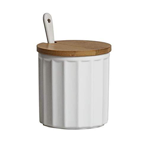 HCHLQLZ Weiß Keramik Zuckerdose Mit Deckel und Zucker Löffel Gewürzgläser Salztopf für Haus und Küche