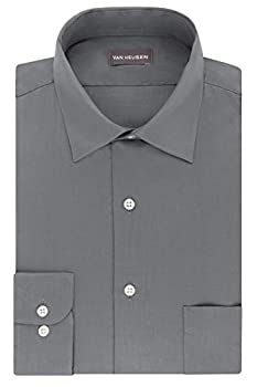 Van Heusen Men s FIT Dress Shirts Lux Sateen Stretch Solid  Big and Tall  Grey 20  Neck 34 -35  Sleeve  4X-Large