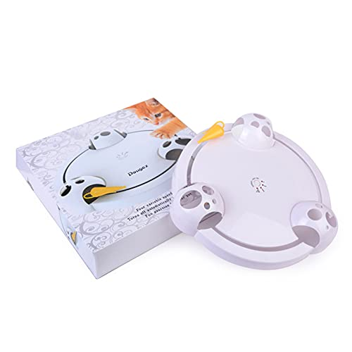 Henreal Gato juguete giratorio de velocidad ajustable eléctrico giratorio juguetes para gatos interactivo gato rasguño placa inteligente burlas juego de gato giratorio para gato mascota
