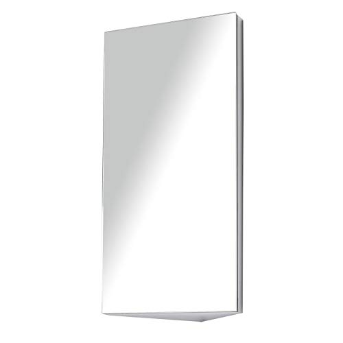 HOMCOM Stainless Steel Wall mounted Bathroom Corner Mirror Storage Cabinet Single Door 300mm (W)