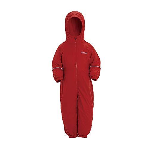 Regatta Splosh III Kinder-Regenanzug, wasserdicht, atmungsaktiv, isoliert, Rot, 24-36 Monate (Größe Hersteller: L)