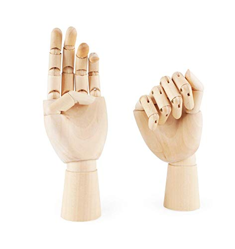 Alikeke 2 Pcs Wooden Hand Model Flexible Moveable Fingers Manikin Hand Figure Both Left and Right Hand for Sketching Drawing Home Office Desk Posable Joints Kids Children Toys Gift 10 INCH