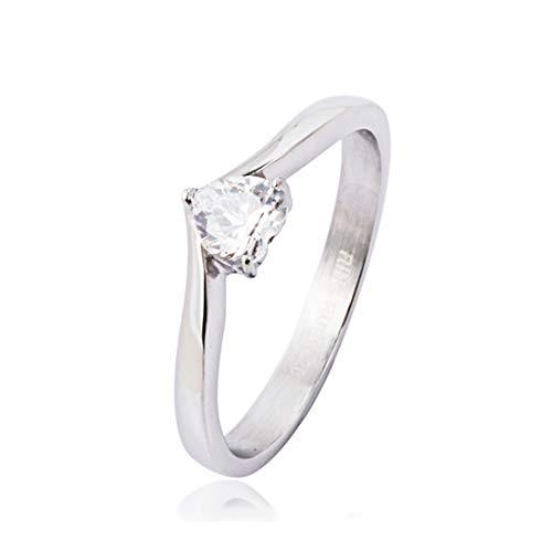 AKKi Anello in acciaio inox per donna infinity cristallo Swarovski Zirconia uomo argento amore anello di fidanzamento gioielli con pietra 002 Small/18