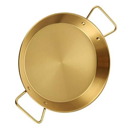 UPKOCH Pan de paella de acero inoxidable Sartén de pollo frito Espaguetis Pan Wok Stir Fry Pan Utensilios de cocina para el restaurante casero 20cm