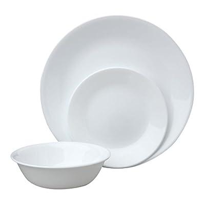 Corelle Livingware Piece Dinnerware Set, Winter Frost White , Service for 8 (24-Piece Set)