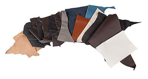 Rayher 8301500 Retales de cuero en diferentes tamaños, formas y colores, envase de 500 g