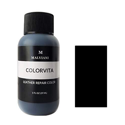 Malviani Leather Repair Color Restorer - Black Noir - Restore Furniture, Couch, Car Seats, Jacket, Purse, Shoes & Vinyl (No Kit) - 1 oz.