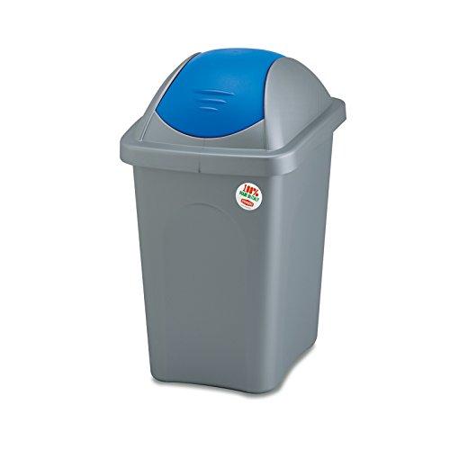 Mülleimer 30 Liter mit blauem Schwingdeckel robust und abwaschbar • Mülleimer Papierkorb Abfalleimer Abfallbehälter Mülltonne Eimer Mülltrennung