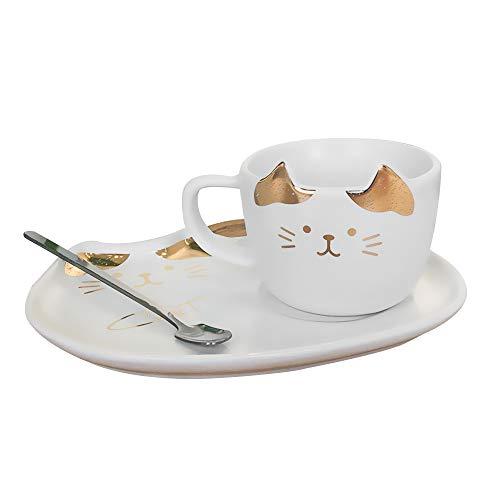 xingguang Taza de desayuno con diseño de gato lindo taza de café con mango y bandeja creativa, taza de té, taza de leche para desayuno, color 01