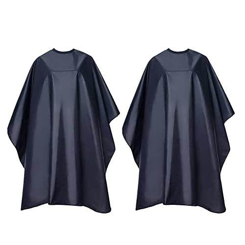 2 Pack Professional Barber Cape, Waterproof Salon Styling Cape with Adjustable Snap Closure for Hair Cutting, 59' x 51', Black