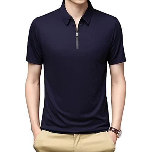 Taloit Camisa polo transpirable de seda de hielo para hombre, manga corta, de seda de hielo, de secado rápido, suave, casual, ajuste clásico, para hombre