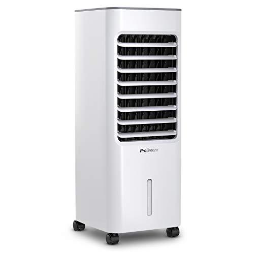Pro Breeze 5 Liter Mobiler Luftkühler 4-in-1 mit 3 Stufen, LED Anzeige + Fernbedienung - Mobiles Klimagerät ohne Abluftschlauch mit Wasserkühlung, Ventilator, Luftbefeuchter & Nachtmodus
