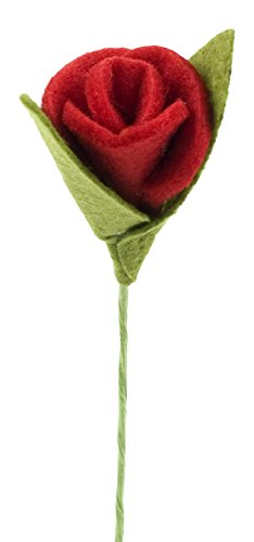 Mopec Caja con 12 Rosas Rojas de Fieltro, Rojo, 3x3x12.5 cm, Unidades
