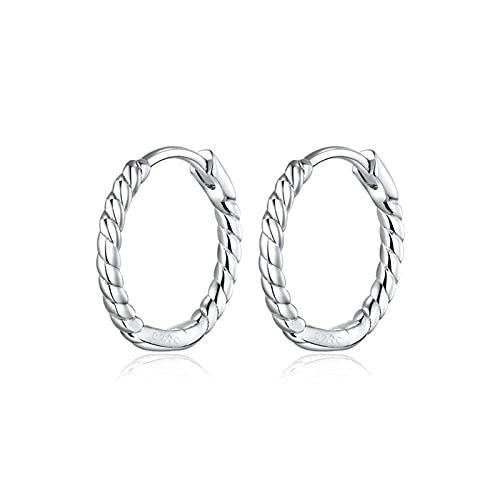 AMTBBK Pendientes De Aro De Diseño Minimalista para Mujeres 925 Sterling Silver Weedy Design Geométrica Joyería