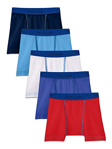 Fruit of the Loom Toddler Boys 5 Pack Stretch Boxer Brief, Assorted, 4T/5T