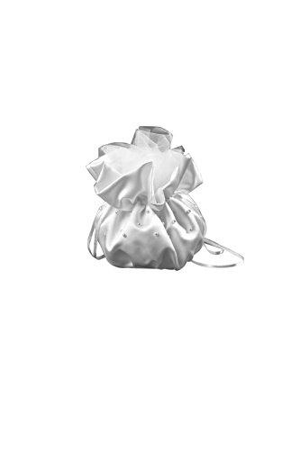 Nina Brautmoden Brautbreutel Brauttasche aus Satin mit Perlen - T2 (ivory/champagner)