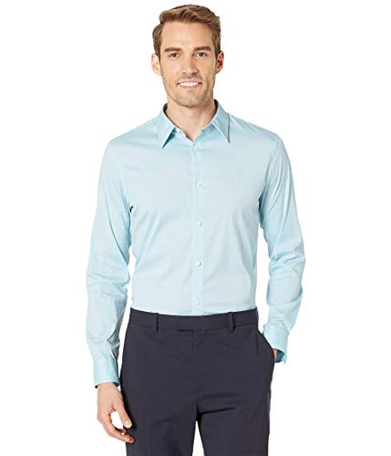 Calvin Klein Men's Stretch Cotton Button Up Shirt, Bright ICE Maya, X-Large