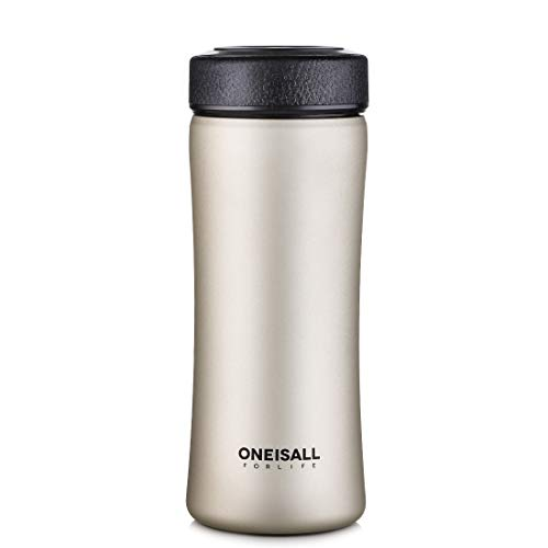 Tea Infuser Travel Mug Insulated Coffee Mug Thermoses with Strainer, Hot & Cold Coffee Tumbler for Loose Leaf Tea, 400ML