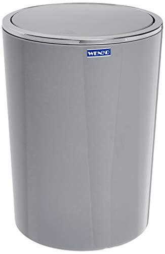 Wenko Kosmetikeimer Inca 5 Liter, Badezimmer-Mülleimer mit Schwingdeckel, kleiner Abfalleimer aus Kunststoff, Ø 18,5 x 25,5 cm, grau