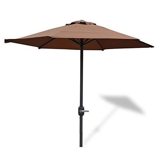 Parasols 6,6 Pieds Parapluie de Patio avec 6 Nervures en Acier, Table de Marché en Plein Air Parapluies, de Jardin 2m Extérieur Arrière-Cour Abri Soleil (Color : Brown)