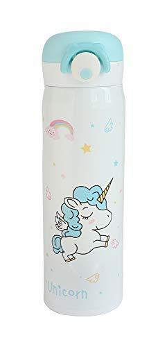 Emartbuy 500 ml Unicornio Apertura Fliptop Spring Prueba de Fugas Acero Inoxidable Vacio Aislado Frio y Calor Botella de Agua Matraz Termo Ninos Linda Cool - Blanco